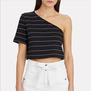 Intermix The Range Striped Bare Shoulder Top Black